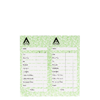 Agenda Salon Concepts Check Pads Green 12x100 Leaf