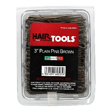 Hairtools 3 inch Plain Pins Brown
