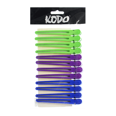 Kodo Aluminium/Plastic Clips x 12 - Assorted Colours