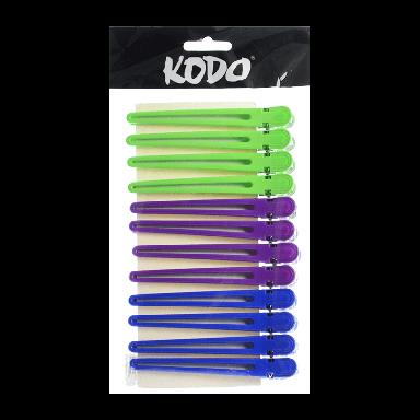 Kodo Aluminium/Plastic Clips x 12 - Assorted Colours