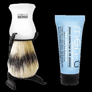 Men-U Barbiere White Shaving Brush & Stand
