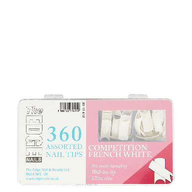 The Edge Nails Competition French White Assorted Nail Tips (360 Pack)