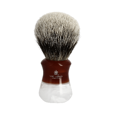 Vie-Long Silvertip Badger Brush and Stand Deep Red Marble Large