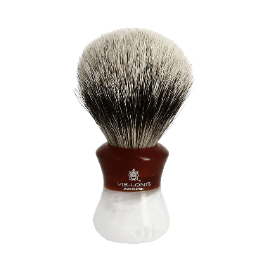 Vie-Long Silvertip Badger Brush and Stand Deep Red Marble Normal