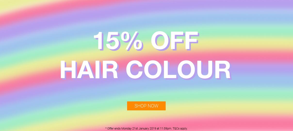 15% off hair colour